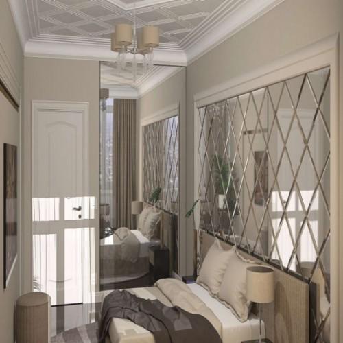Зеркальное панно в спальню в стиле классика